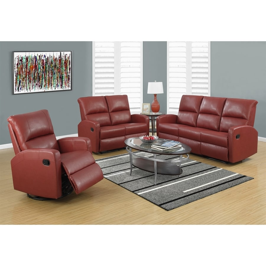 Monarch Specialties Casual Red Faux Leather Loveseat