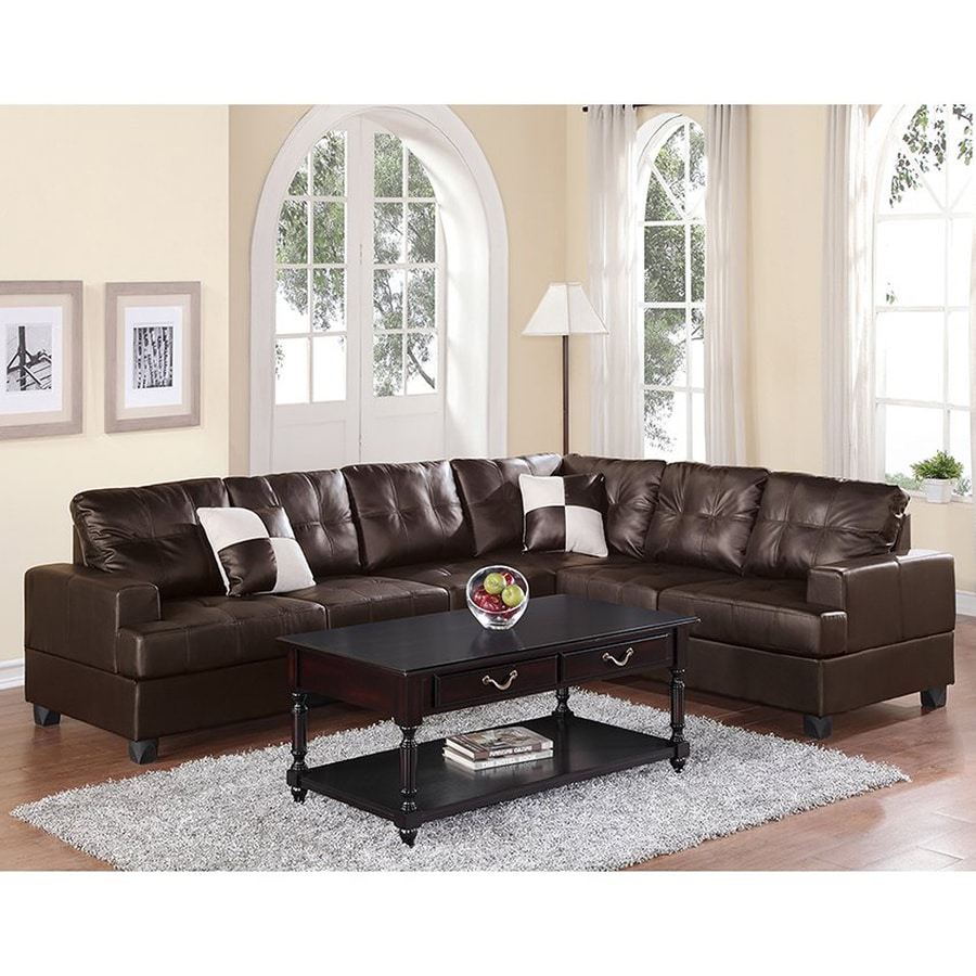 Poundex karen casual espresso faux leather sectional