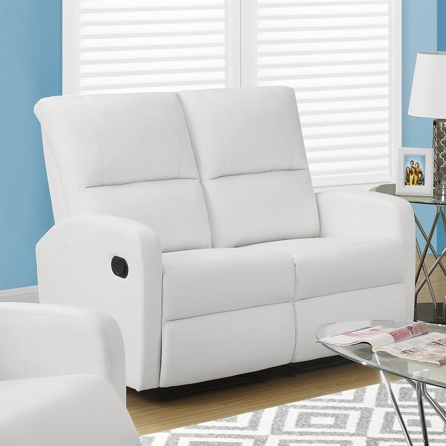 Monarch Specialties Casual White Faux Leather Loveseat