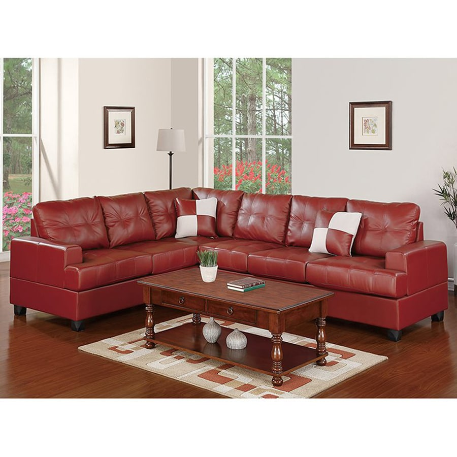Poundex Karen Casual Burgundy Faux Leather Sectional
