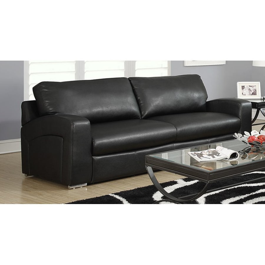 Monarch Specialties Casual Black Faux Leather Sofa
