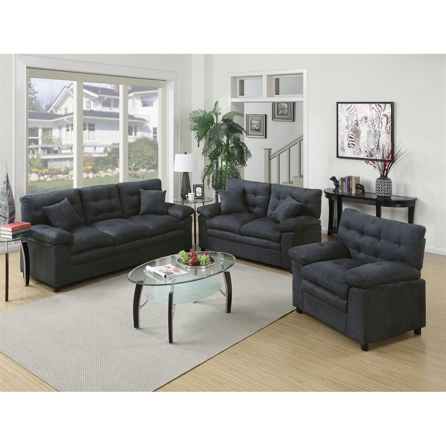 Poundex 3-Piece Bobkona Colona Ash Living Room Set