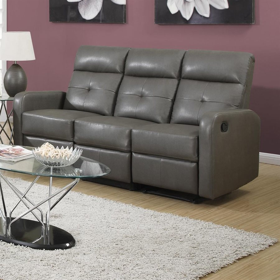 Monarch Specialties Casual Charcoal Gray Faux Leather Reclining Sofa