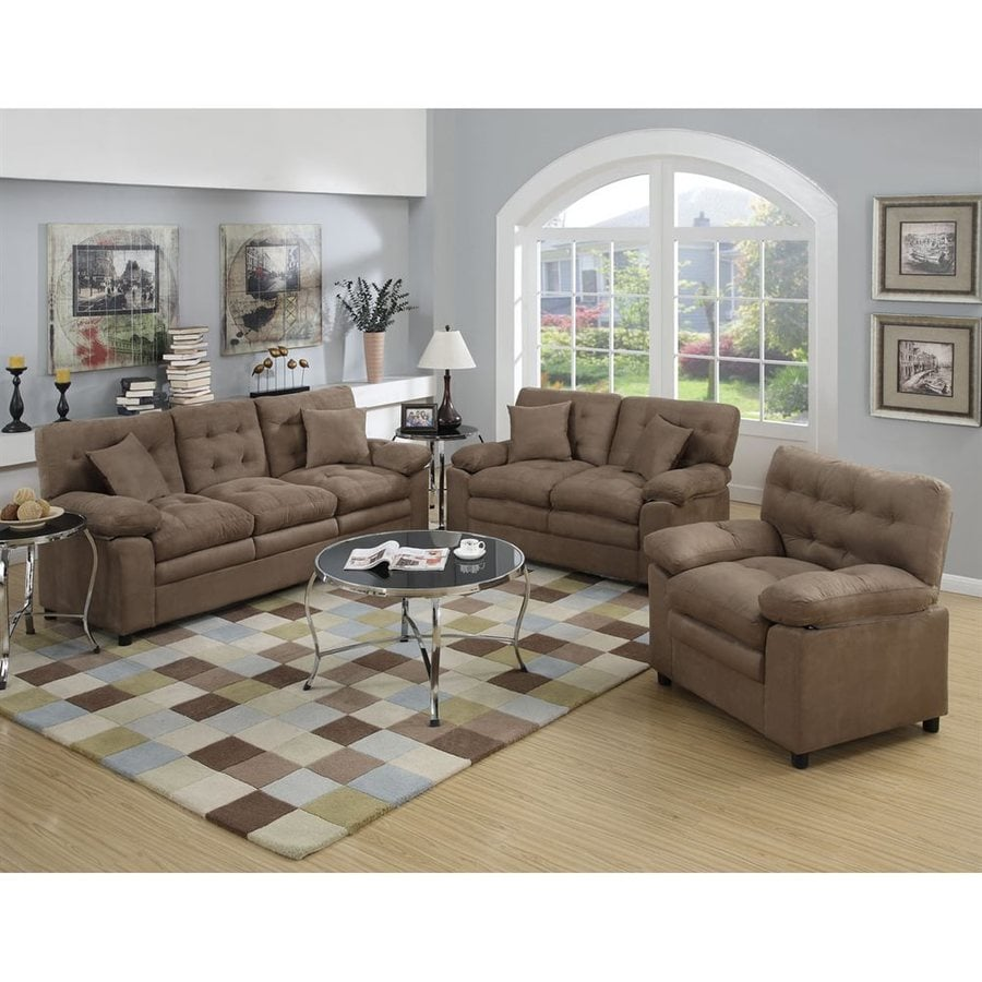 Shop poundex 3 piece bobkona colona dark brown living room for Dark brown living room set