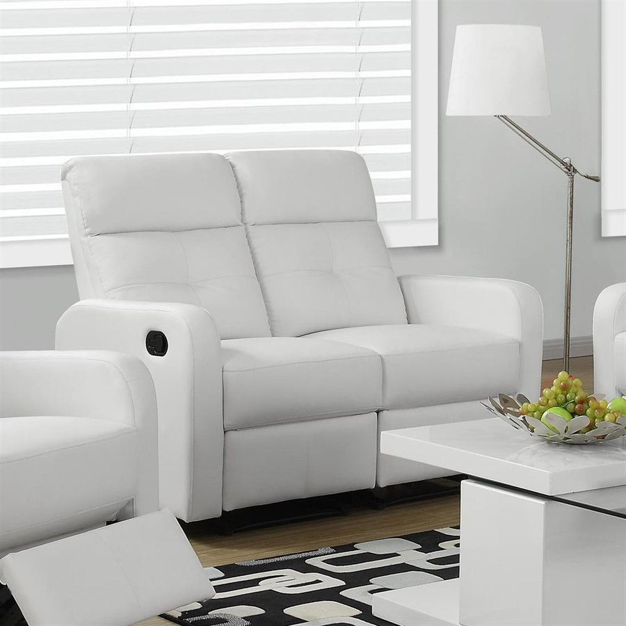 Monarch Specialties Casual White Faux Leather Reclining Loveseat