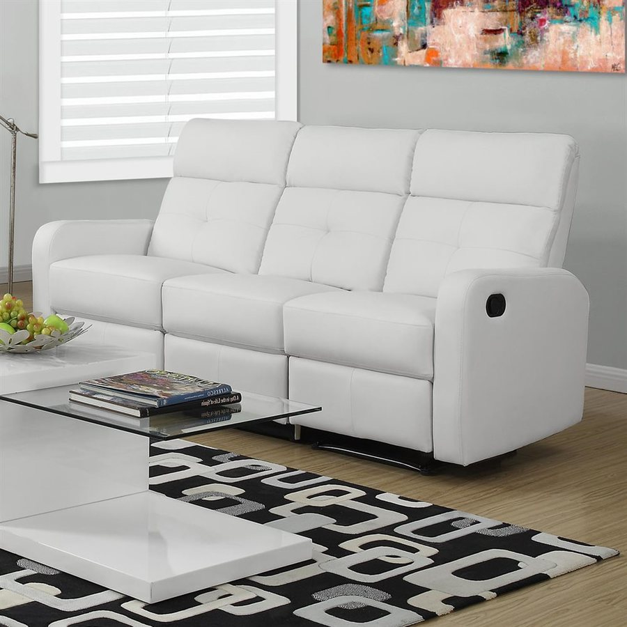 Monarch Specialties Casual White Faux Leather Reclining Sofa