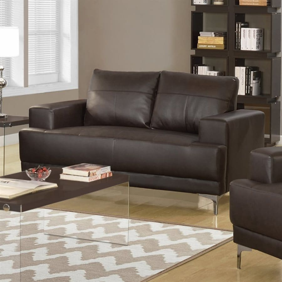 Monarch Specialties Casual Brown Faux Leather Loveseat