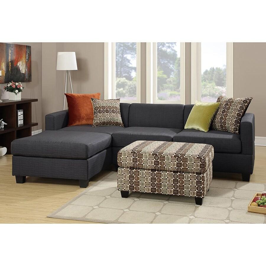 Poundex 3-Piece Bobkona Dayton Deep Brown/Slate Black Living Room Set