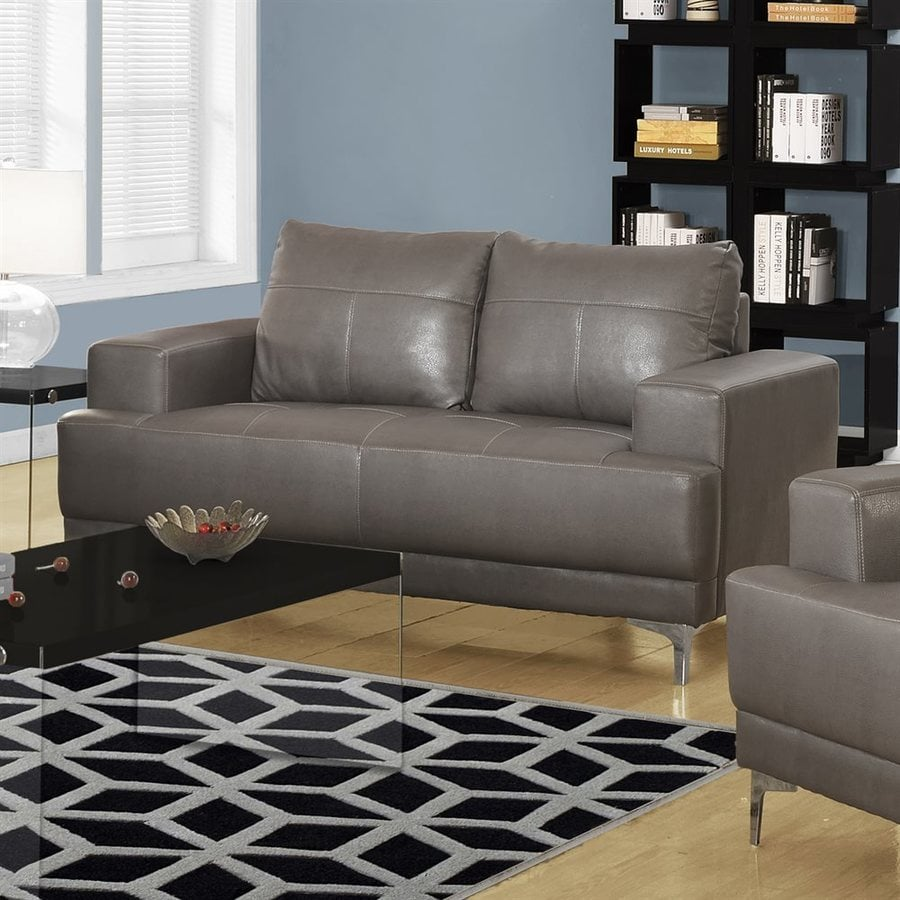Monarch Specialties Casual Charcoal Gray Faux Leather Loveseat