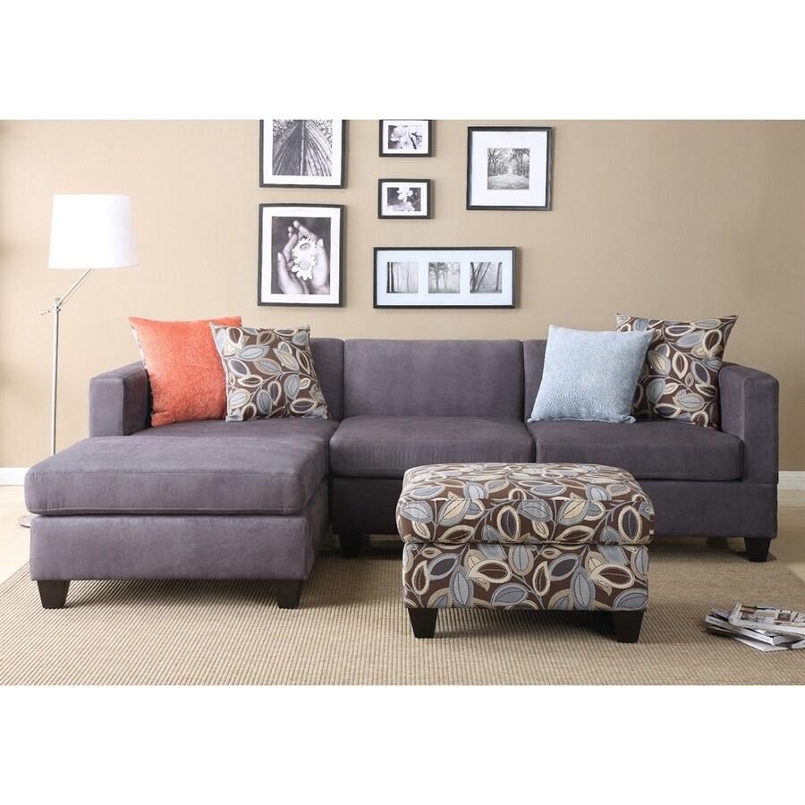 Poundex 2-Piece Simplistic Charcoal Living Room Set
