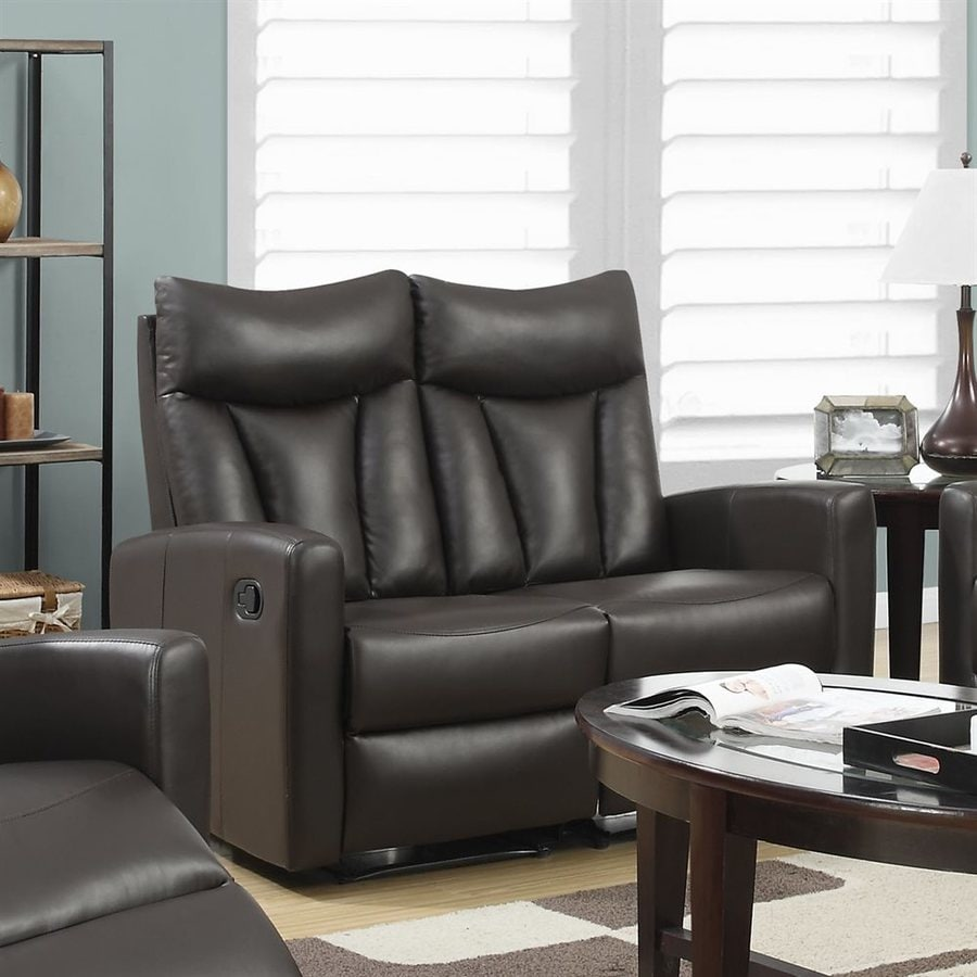 Monarch Specialties Casual Brown Faux Leather Reclining Loveseat