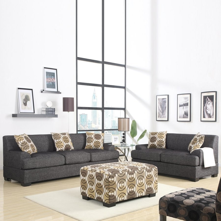 Shop Poundex 2-Piece Montereal Ash Black Living Room Set at Lowes.com