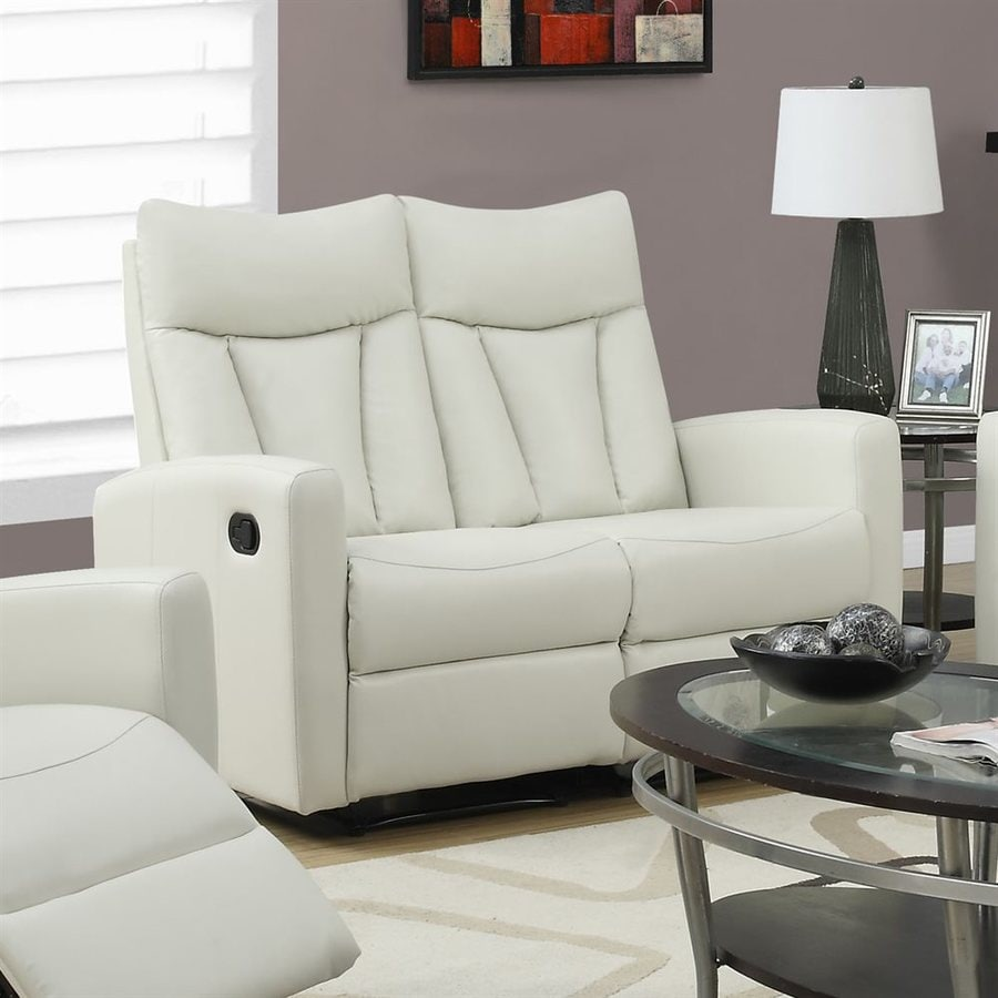 Monarch Specialties Casual Ivory Faux Leather Reclining Loveseat