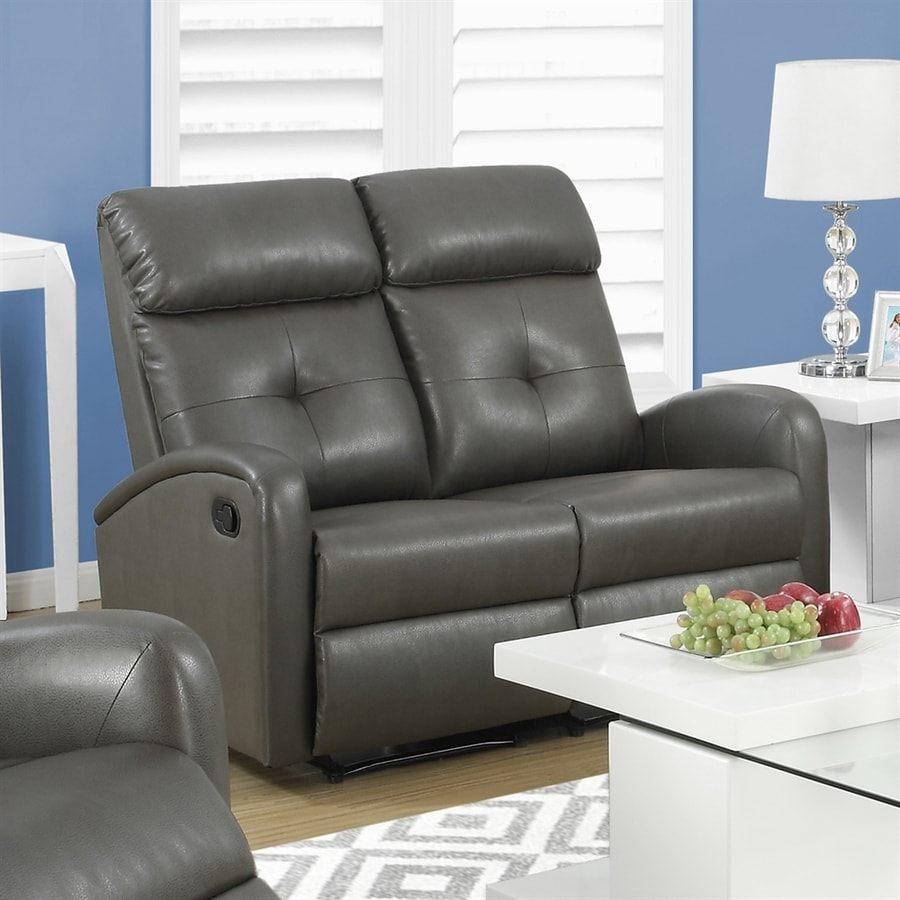 Monarch Specialties Casual Charcoal Gray Faux Leather Reclining Loveseat