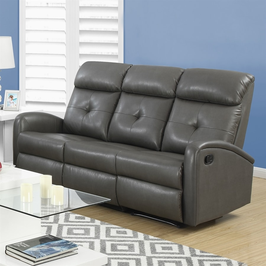 shop monarch specialties casual charcoal gray faux leather reclining sofa at. Black Bedroom Furniture Sets. Home Design Ideas