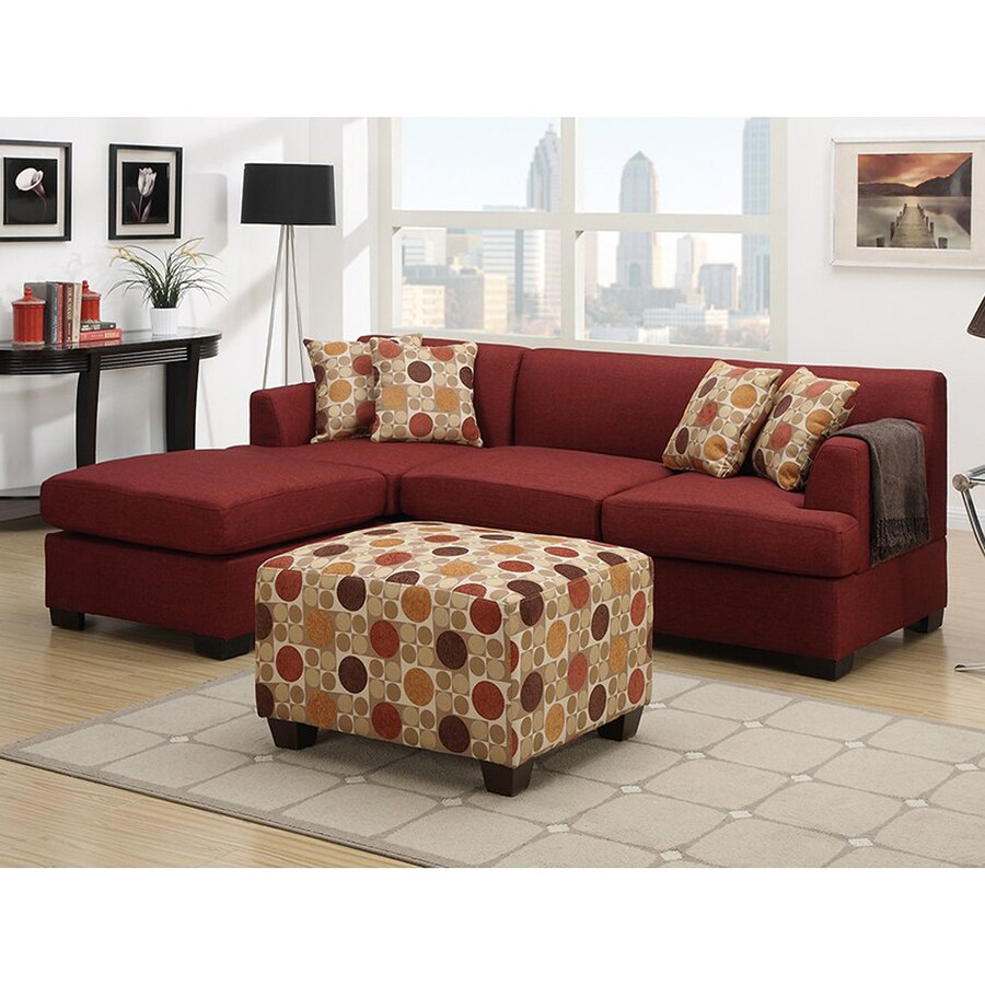Poundex Winifred Dark Red Linen Sectional