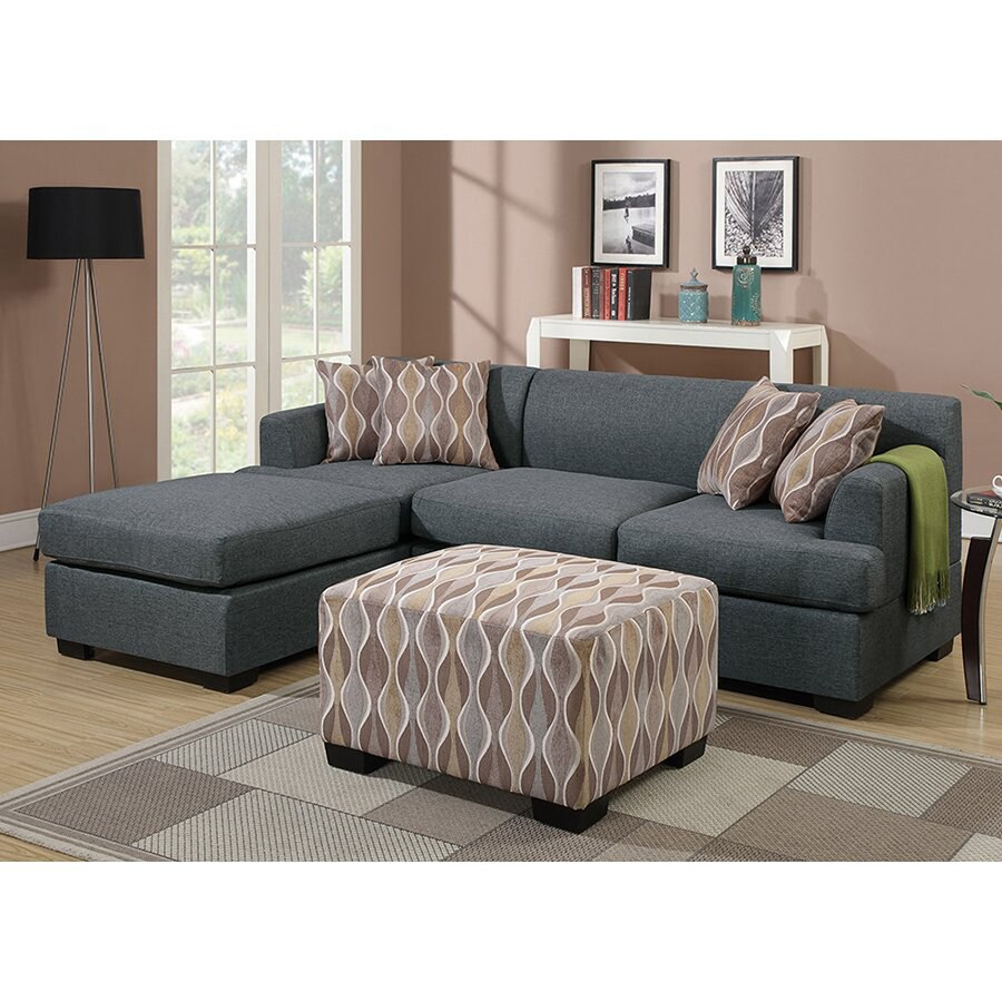 Poundex Winifred Casual Blue Grey Linen Sectional