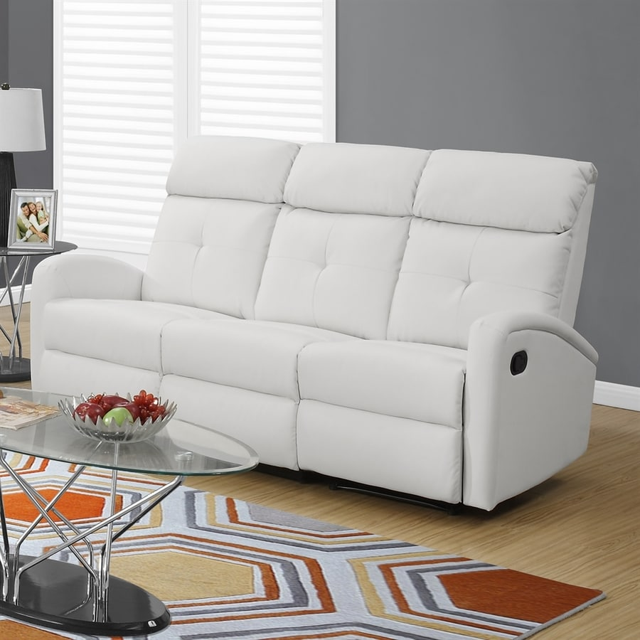 Shop Monarch Specialties Casual White Faux Leather Reclining Sofa at ...