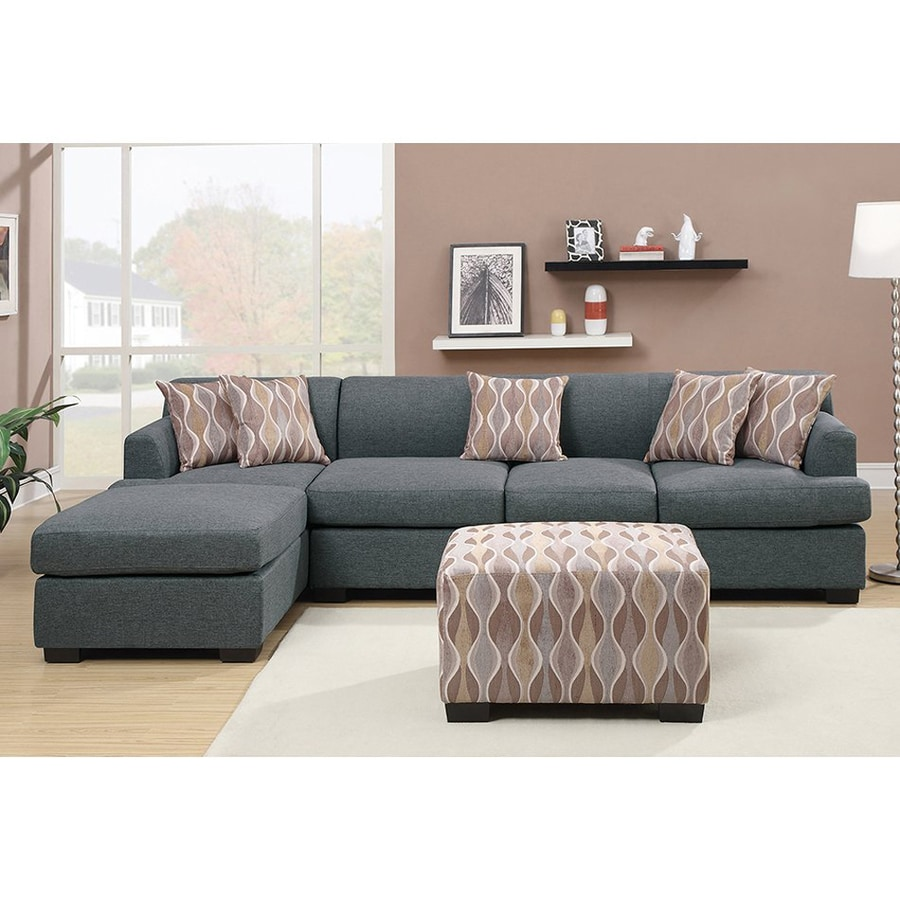 Poundex Hudson Casual Blue Grey Linen Sectional