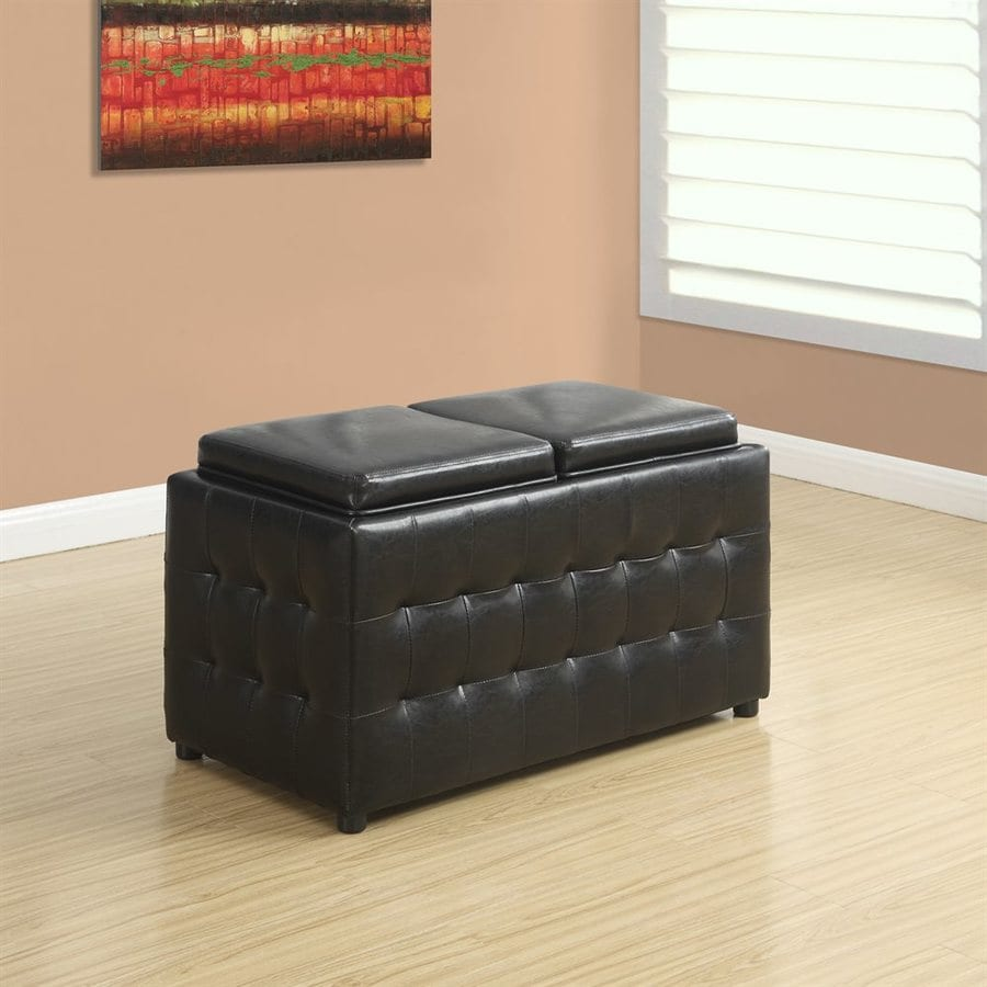 Monarch Specialties Casual Dark Brown Faux Leather Storage Ottoman