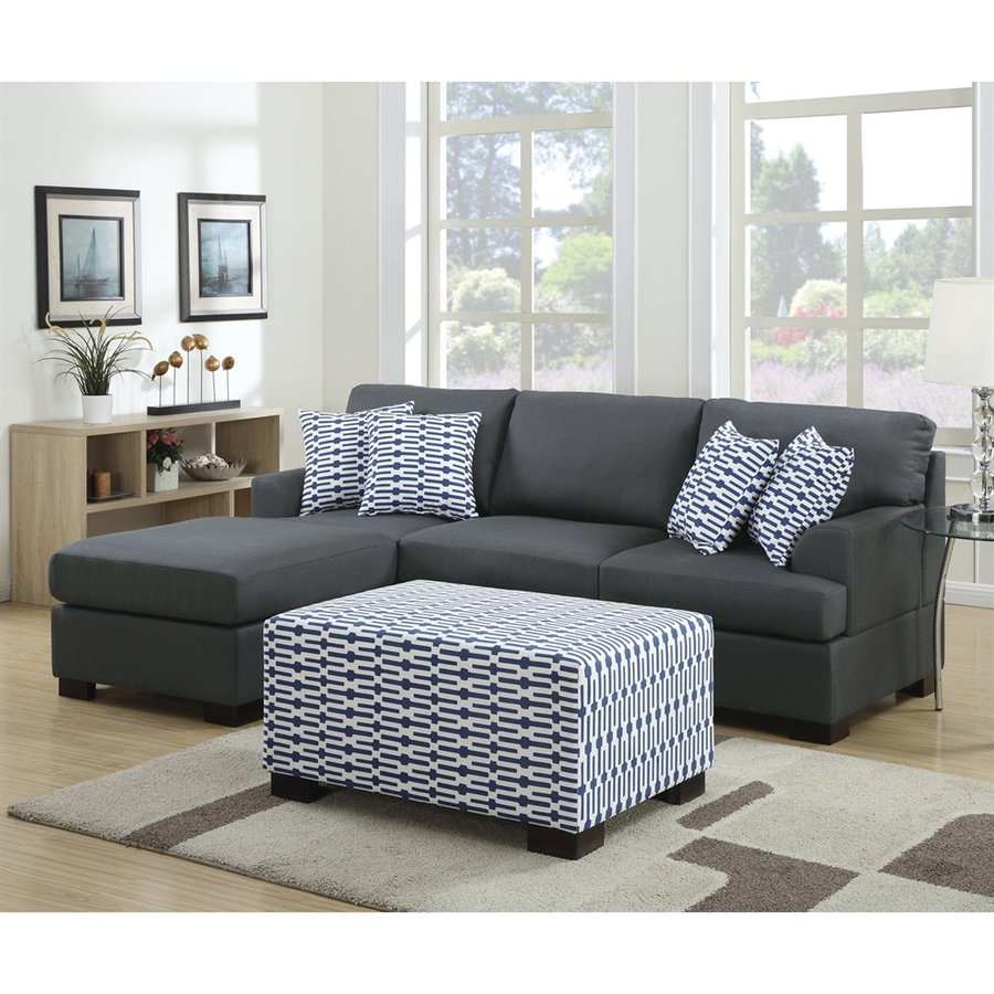 Poundex Roman Casual Slate Black Sectional
