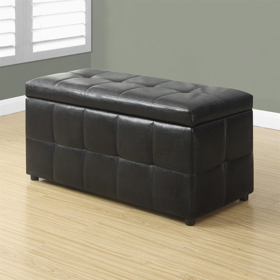 monarch specialties casual dark brown faux leather rectangle storage ottoman at. Black Bedroom Furniture Sets. Home Design Ideas