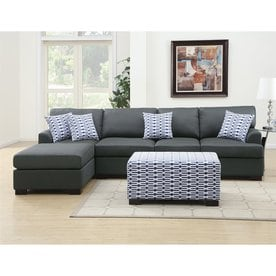 Poundex Cayden Casual Slate Black Sectional