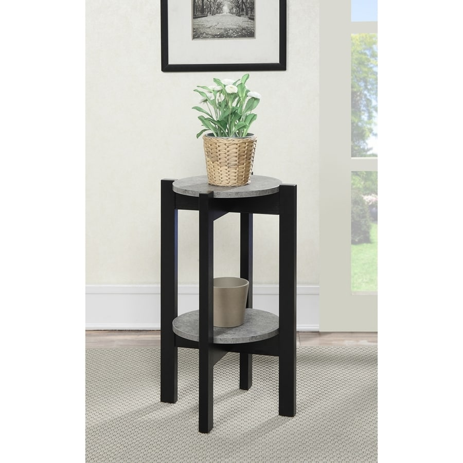 Convenience Concepts Newport 23.5-in Faux Cement/Black Indoor Round Composite Plant Stand