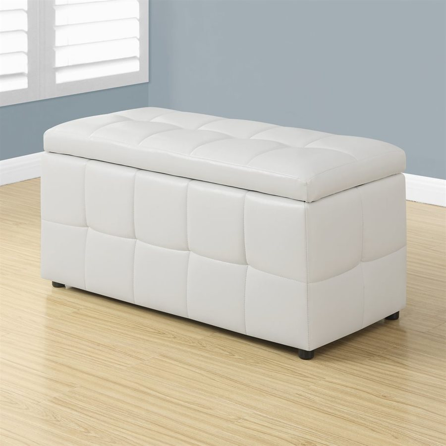 Monarch Specialties Casual White Faux Leather Storage Ottoman