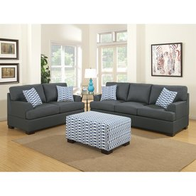 Poundex 2 Piece Bobkona Montega Slate Black Living Room Set