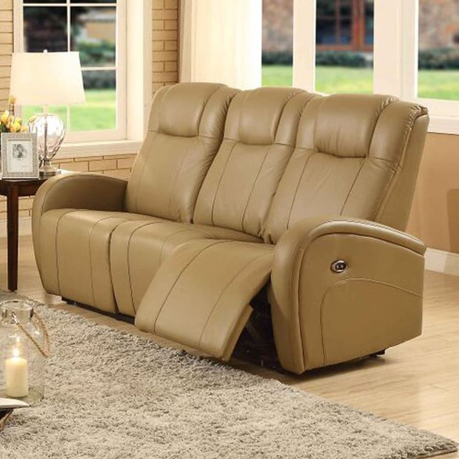 Sunset Trading Easy Living Casual Tan Faux Leather Reclining Sofa