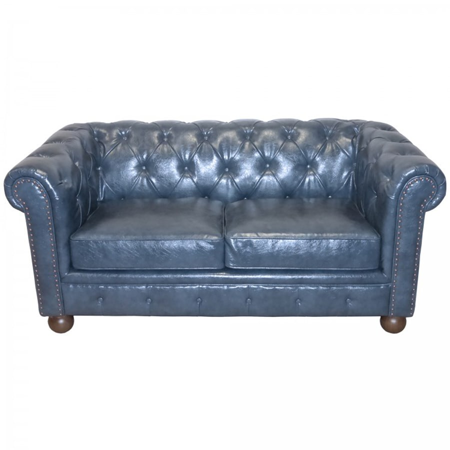Armen Living Winston Casual Antique Blue Faux Leather Loveseat