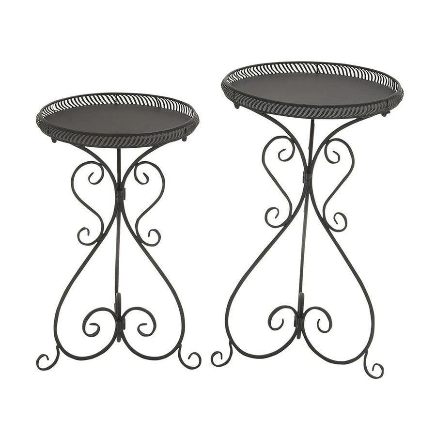 Woodland Imports 27-in Black Indoor/Outdoor Round Plant Stand