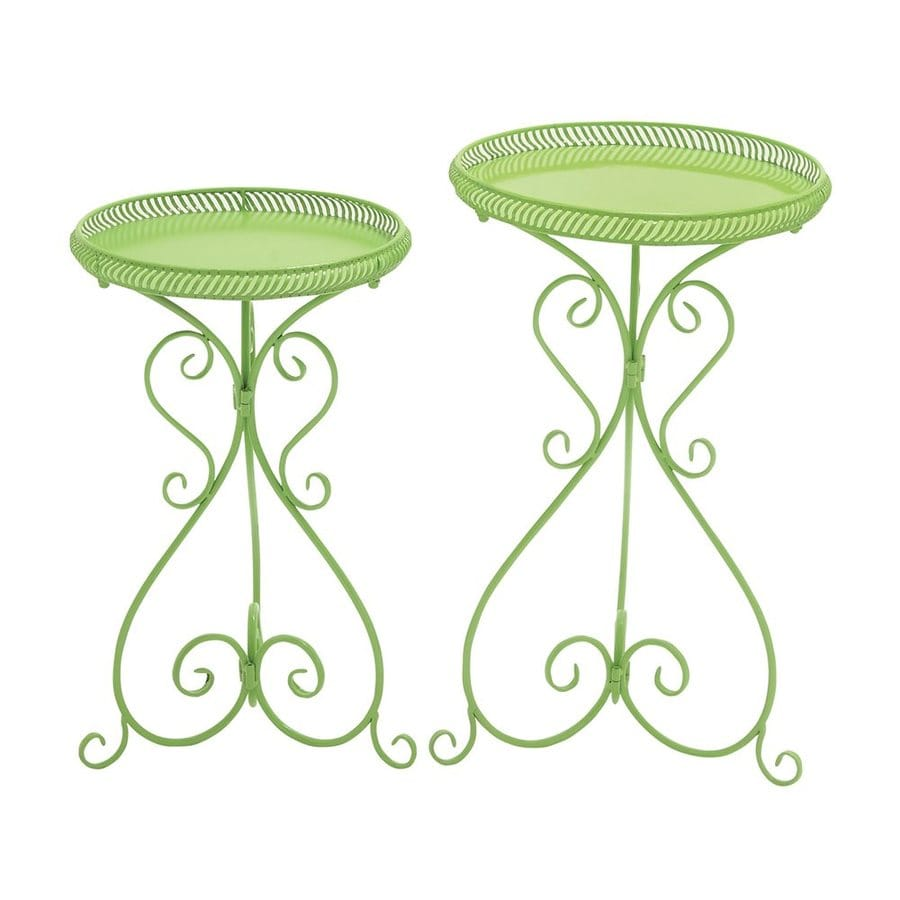 Woodland Imports 27-in Green Indoor/Outdoor Round Plant Stand