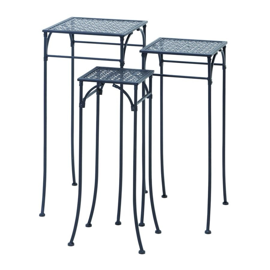 Woodland Imports 28-in Cast Grey Outdoor Square Cast Iron Plant Stand
