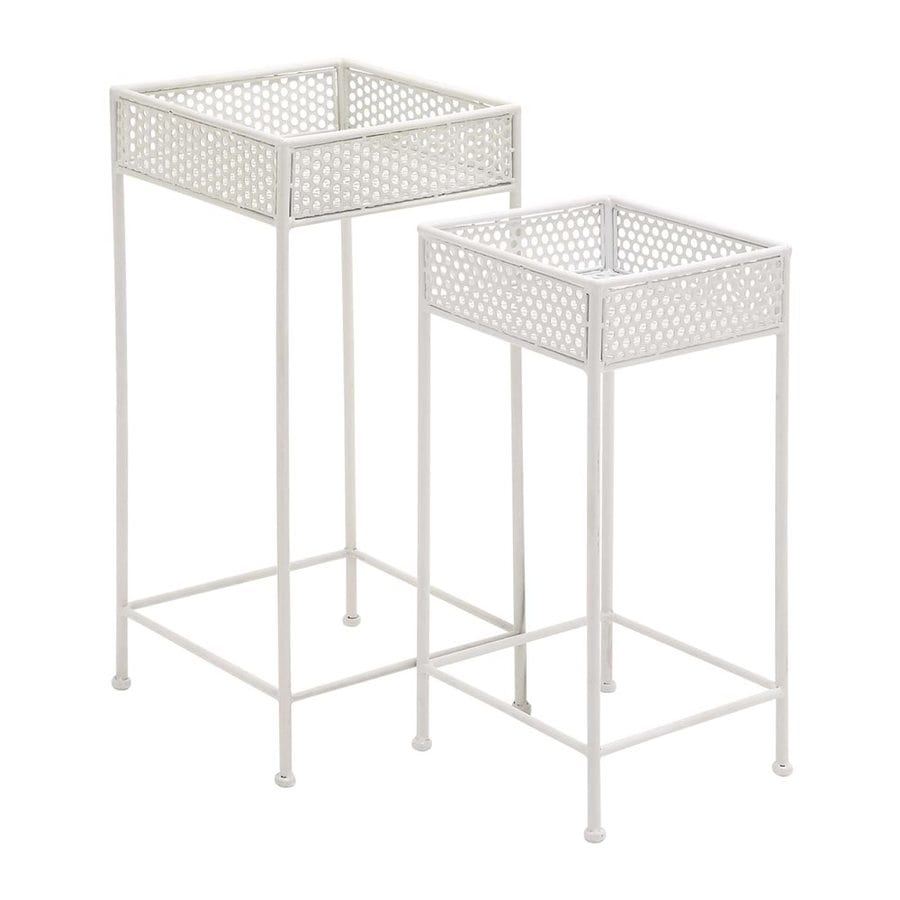 Woodland Imports 28-in White Indoor/Outdoor Square Plant Stand