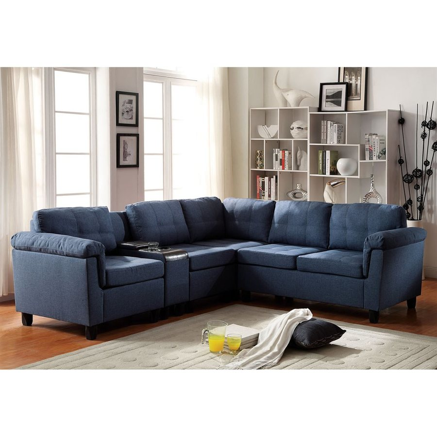 ACME Furniture Cleavon Casual Blue Linen Sectional