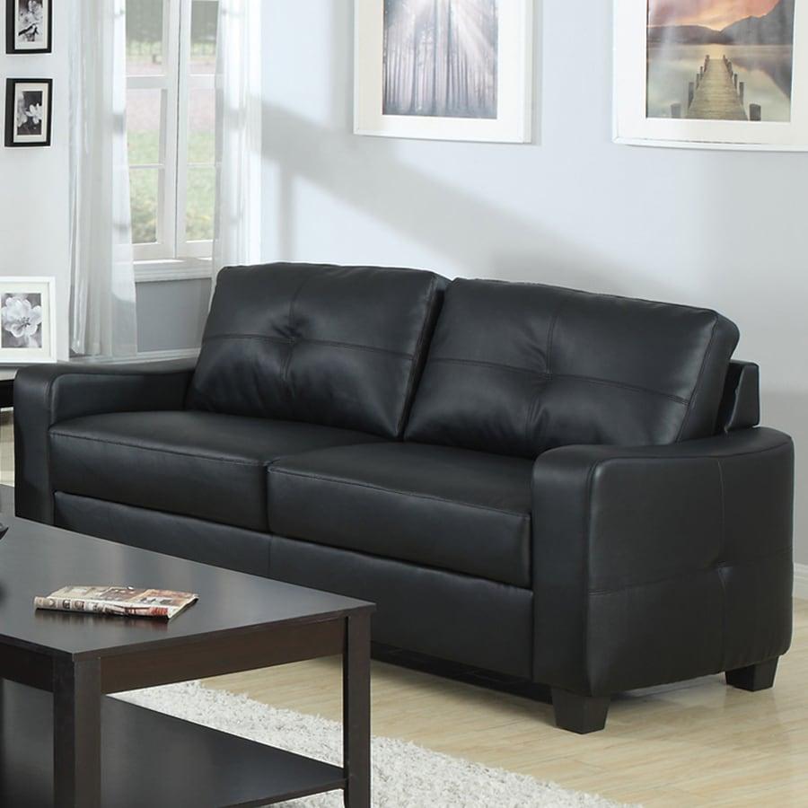 Coaster Fine Furniture Jasmine Casual Black Faux Leather Sofa