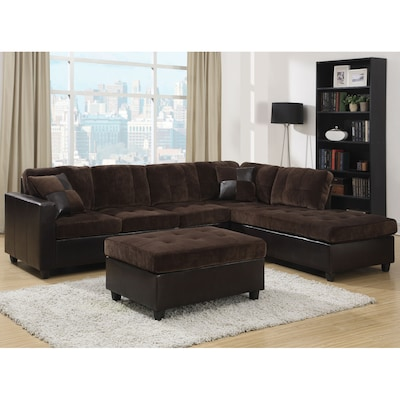 Mallory Casual Chocolate Dark Brown Velvet Sectional