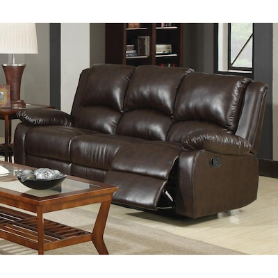 Boston Casual Brown Faux Leather Reclining Sofa