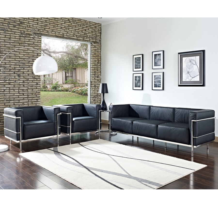 Shop Modway 4-Piece Charles Black Living Room Set at Lowes.com