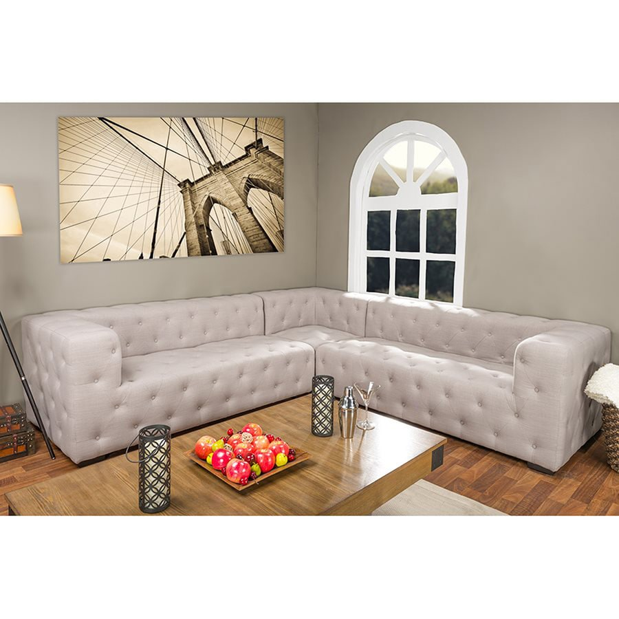 Baxton Studio Verdicchio Midcentury Light Beige Polyester/Polyester Blend Sectional