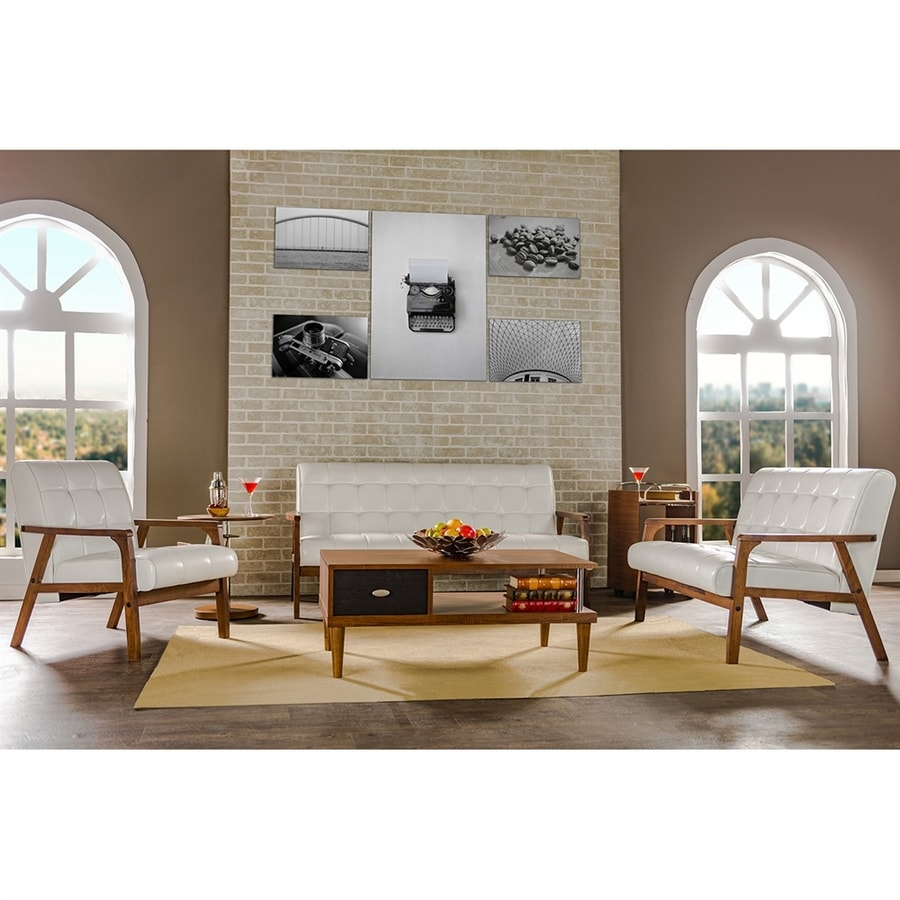 Baxton Studio 3 Piece Mid Century Masterpieces White/Medium Brown Living  Room Set