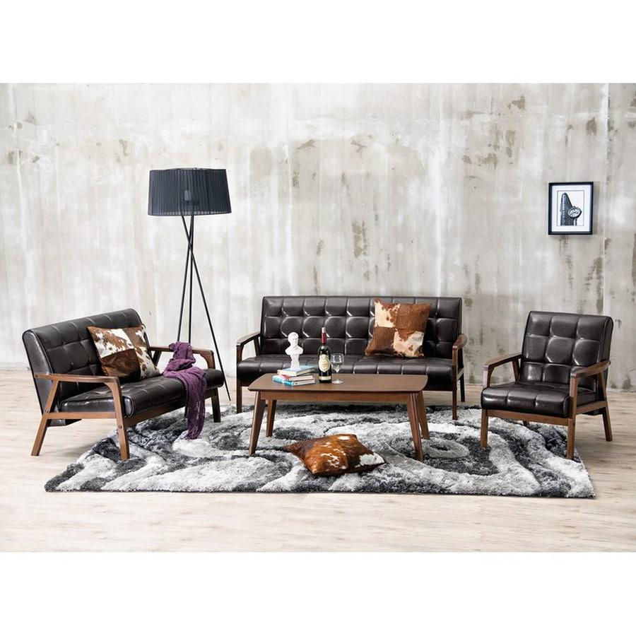 Baxton Studio 3-Piece Mid-Century Masterpieces Dark Brown/Medium Brown Living Room Set