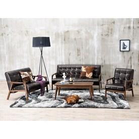 Baxton Studio 3 Piece Mid Century Masterpieces Dark Brown/Medium Brown Living  Room
