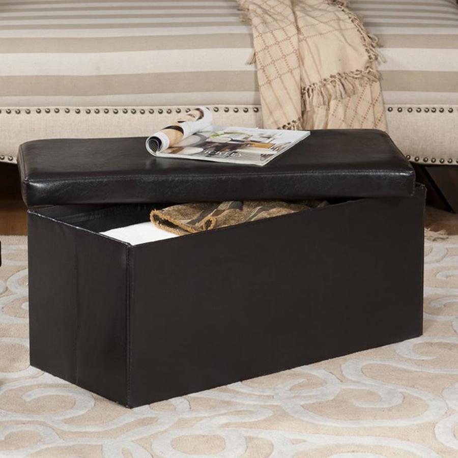 KB Furniture Modern Dark Brown Faux Leather Storage Ottoman