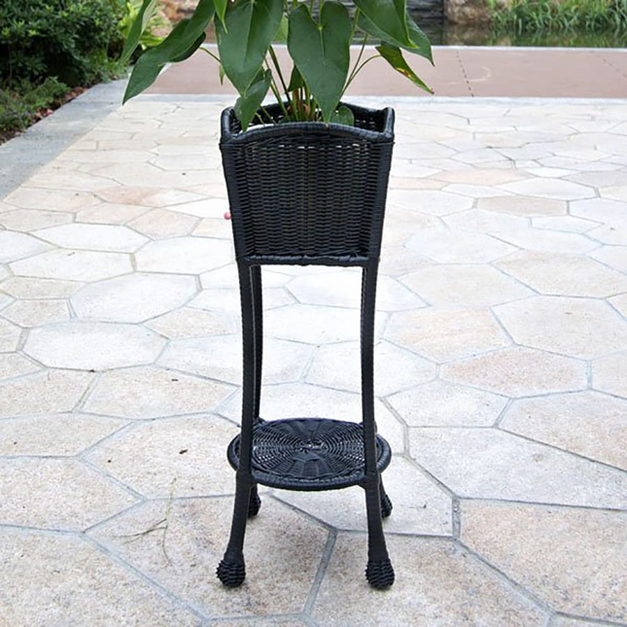Jeco 27.5-in Black Outdoor Square Wicker Plant Stand