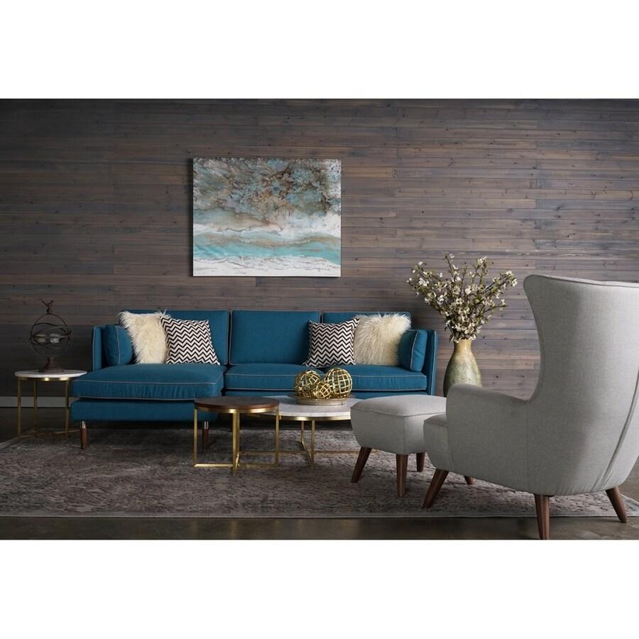 RST Brands 7-Piece Florence Teal Blue/Herringbone Grey Living Room Set