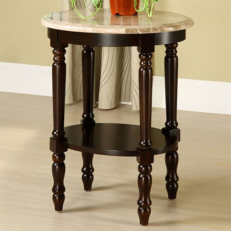 Furniture Of America Santa Clarita 26 In Dark Cherry Indoor Oval Marble  Plant Stand