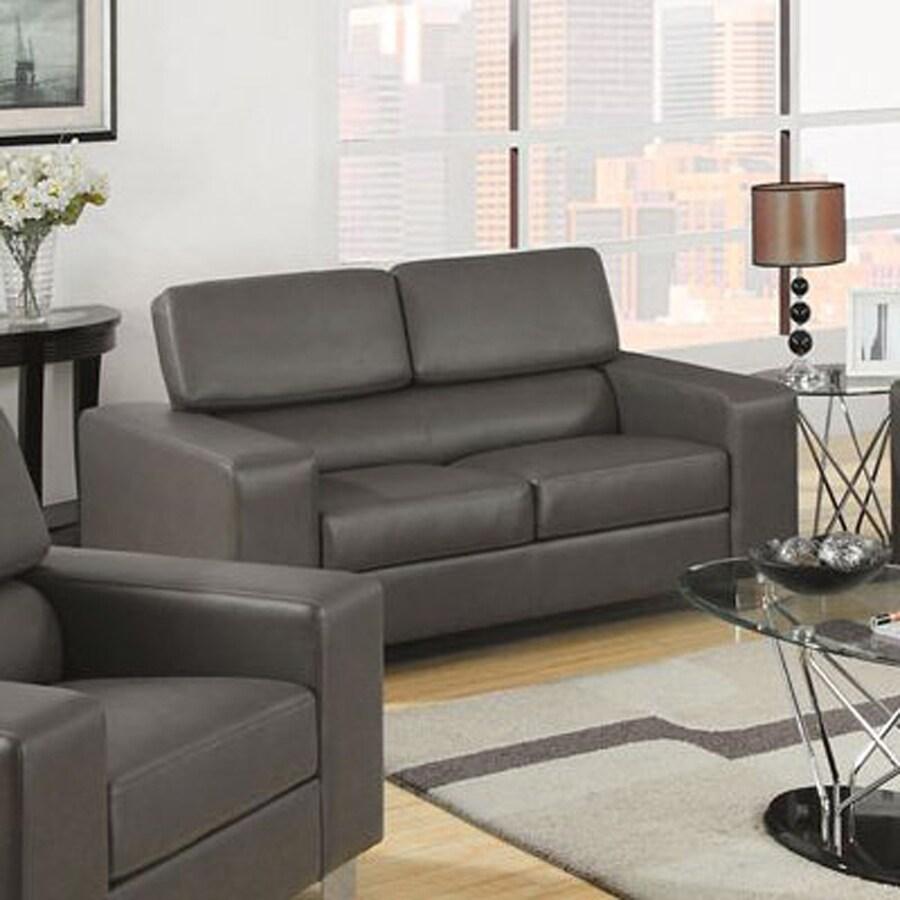 Furniture of America Makri Casual Gray Faux Leather Loveseat